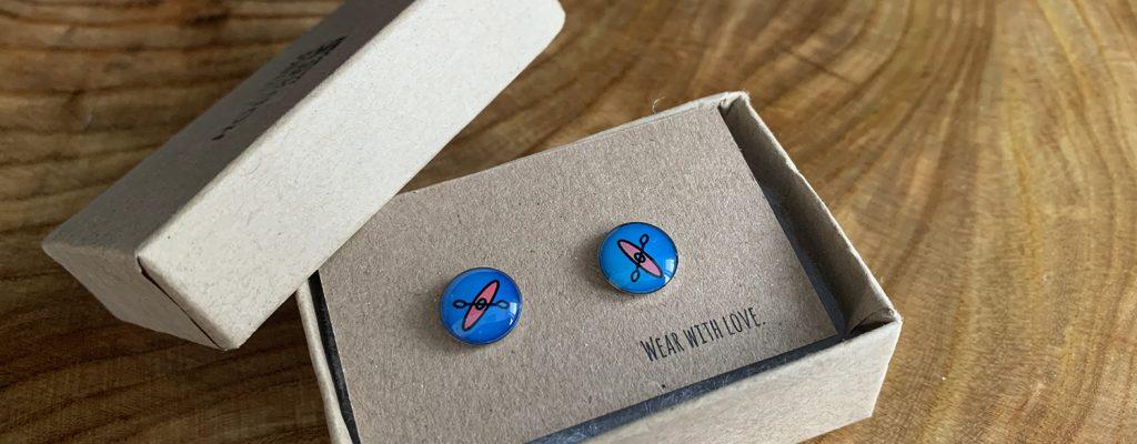 hobkey handmade náušnice kajak modré